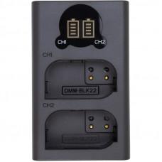 Зарядное устройство с дисплеем PowerPlant Panasonic DL-BLK22 для двух аккумуляторов  CH980376