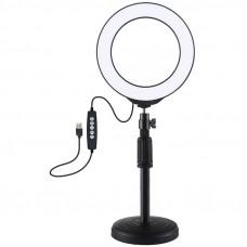 """Кольцевая USB RGBW LED лампа Puluz PKT3047B 6.2"""" + настольное крепление"""