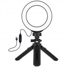 "Кольцевая USB LED лампа Puluz PKT3058B 4.7"" + штатив 12 см"