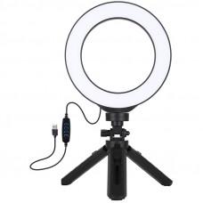"""Кольцевая USB LED лампа Puluz PKT3059B 6.2"""" + настольный штатив"""