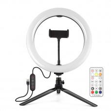 """Кольцевая USB LED лампа Puluz PKT3082B 10"""" + настольный штатив"""